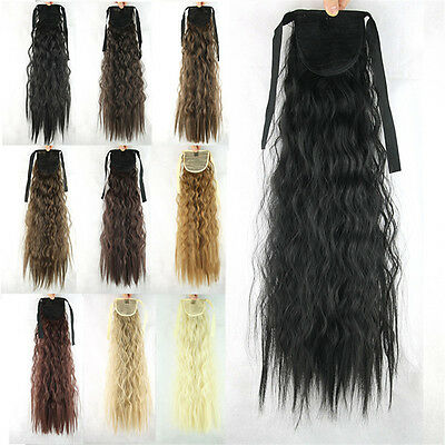 Women Lady Girls Long Wavy Hair Hairpieces Curly Wigs Ponytail Synthetic 21''