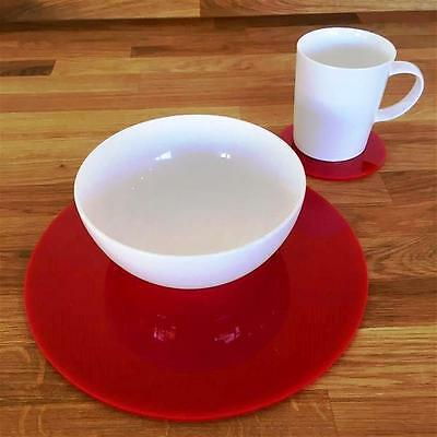Red Round Placemat and Coaster Set