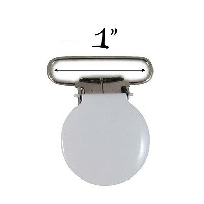 25 White Enamel Round Face 2.5cm Suspender Clips w/ Rectangle Inserts. Delivery