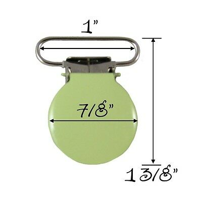 25 Lime Enamel Round Face 2.5cm Suspender Clips w/ Rectangle Inserts. Brand New