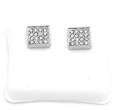 Mens Platinum Plated Cz Micro Pave Iced Out Hip Hop Square Stud Earrings Bullet