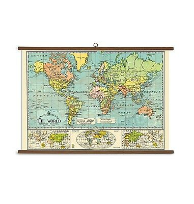 Cavallini & Co. Vintage Style World Map School Chart. Shipping Included