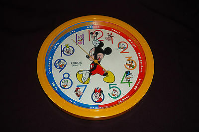"Vintage Mickey Mouse & Friends 11"" Lorus Quartz Clock Tested & Working"