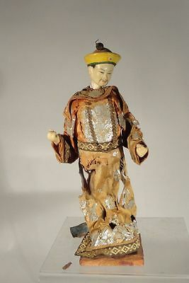 Antique Vintage Chinese Puppet Opera Doll EMperor Mandarin Necklace Dragon Robe