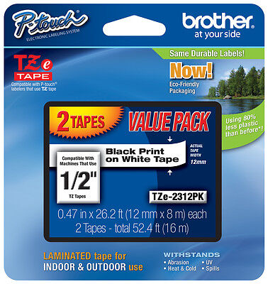 "2-Pack Brother 1/2"" Black on White P-touch Tape for PT530, PT-530 Label Maker"