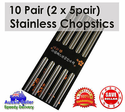 10 pairs Stainless Steel Dishwasher Safe Light Chopsticks 22.5cm Quality Cutlery
