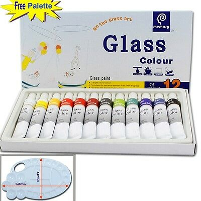 Magicdo® 12 Cols Glass Paint With Free Palette, Professional Glass Colour set,