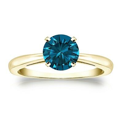 3 Ct Round Blue Real 14K Yellow Gold Solitaire Promise Engagement Wedding Ring