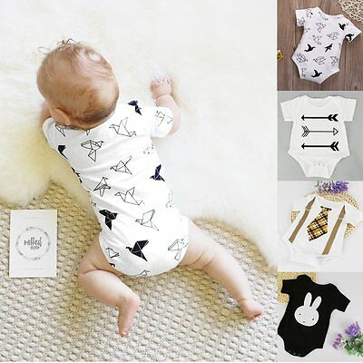 Newborn Kids Baby Infant Boy Girl Cotton Bodysuit Romper Jumpsuit Outfit Clothes