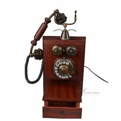 Retro Wooden Wall Telephone  Vintage Rotary Dial Corded Home Telephone,
