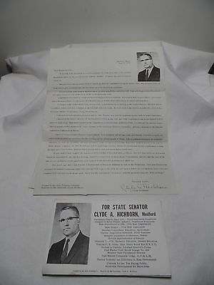1972 Vintage Senetorial Letter to the Public Clyde A. Hicborn Medford Maine