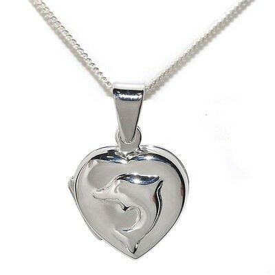 Sterling Silver Heart Locket with Embossed Dolphin, Chain, length 41cm. Best Pri