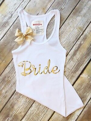 """Metallic GOLD Tank Top print with Bow BRIDE, BRIDE TO BE, BRIDAL SHOWER, S-L"