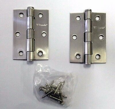A pair of  stainless steel door hinges 85x60x2 mm loose pin