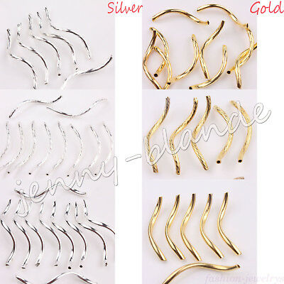 Gold Silver Plated Curved Noodle S Wavy Tubing Metal Spacer Beads Jewelry Making