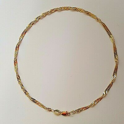 NEW Authentic Genuine 9k 9ct Solid Yellow Gold Singapore Pattern Anklet