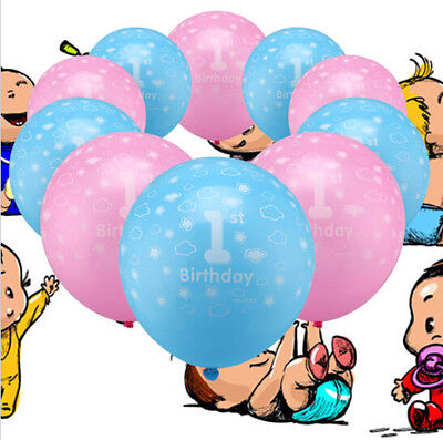 10pcs Number 1 Girl Boy Hot First Birthday Decor Party 1st Baby Ballons Printed