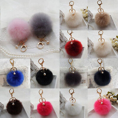 Super Fluffy Rabbit Fur Ball PomPom Bag Cell Phone Car Pendant Key Chain Ring