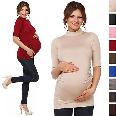 Happy Mama. Women's Pregnancy Top Turtle Neck Maternity Tee Half Sleeves. 985p