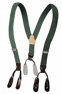 Genuine Army Braces Leather Buckles Green Elastic Adjustable New Vintage Retro