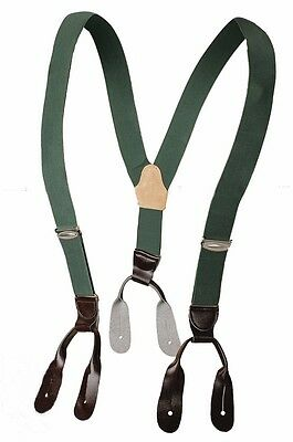 Genuine Army Braces Leather Buckles Green Elastic & Adjustable New Vintage Retro