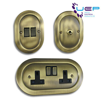Antique Brass Oval/Round Sockets & Switches - Empire Range
