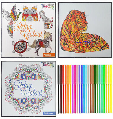 2 x Anti Stress Adult Colour Therapy Colouring Books Book + 1 x 20 FELT TIP PENS