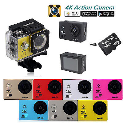 4K Ultra HD Action Camera Wifi Waterproof Sports Video Camera Car Camcorder 16GB