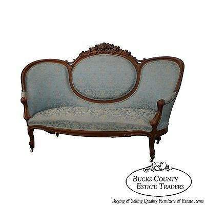 Antique Solid walnut Rose Carved Victorian Sofa