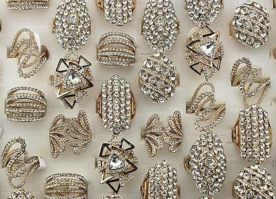 Fashion Jewelry Lots 15pcs Clear Rhinestone Gold P Wedding Party Huge Rings L568