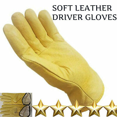 1, 10 Pairs Of Fleece Lined Leather Lorry Drivers Work Gloves Safety Diy