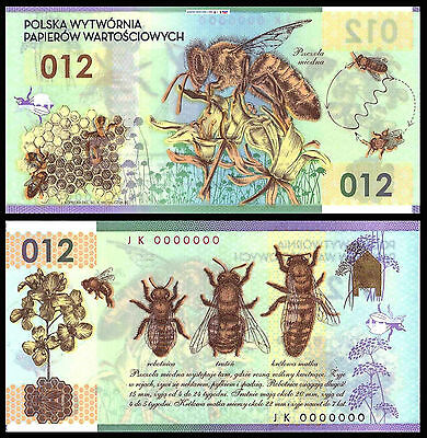 ­■■■ PWPW 2013 Poland FIRST Guardian POLYMER Test Banknote HONEY BEE Amazing ! ■