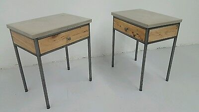 Set Of End Table Night Stands With Drawer Concrete Top Metal Legs And Hardwood