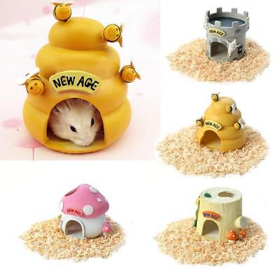 Cute Resin House Cabin Nest Hide Cave For Hamster Rat Gerbil Small Animal Pet