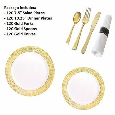 600 PC Party Set 120 Settings Salad+ Dinner Plates+ Cutlery Lace Design WEDDING
