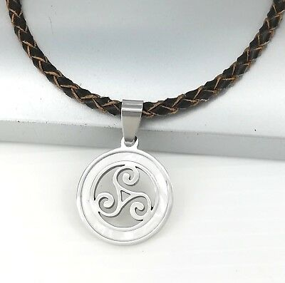 Silver Celtic Triskelion Triskele Pearl Pendant Brown Braided Leather Necklace