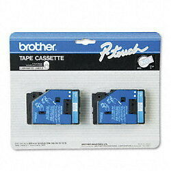 """Brother 1/2"""" (12mm) Blue on White P-touch Tape for PT10, PT-10 Label Maker"""