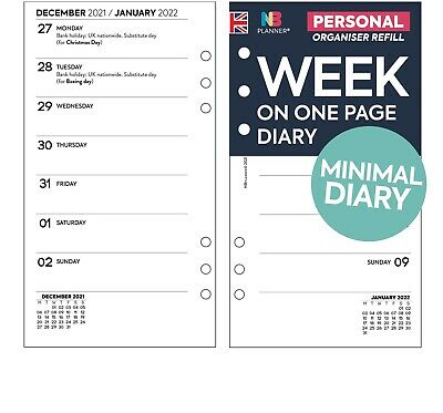 2020 Week on two pages diary Insert Refill FILOFAX PERSONAL Compatible planner
