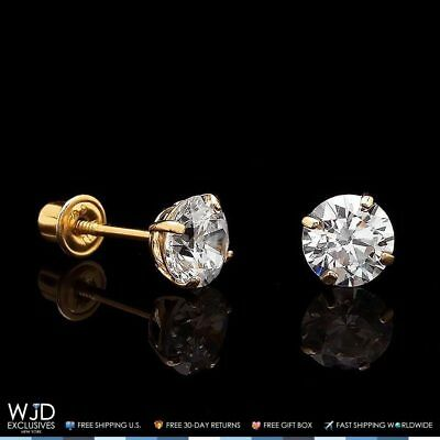 1Ct Created Diamond 14K Yellow Gold Brilliant Round Screwback Stud Earrings 5mm