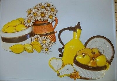 Vintage Fruit Kitchen Decor Yellow Flowers Wall hanging Homco 1981