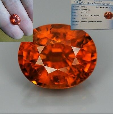 TCW 5.33 ct Oval Natural Gem Mandarin Orange Spessartite Garnet, NAMIBIA + AIGS