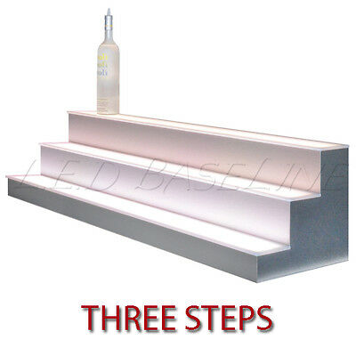 "48"" 3 Tier LED Lighted  Liquor Display Shelf - Stainless Steel Finish"