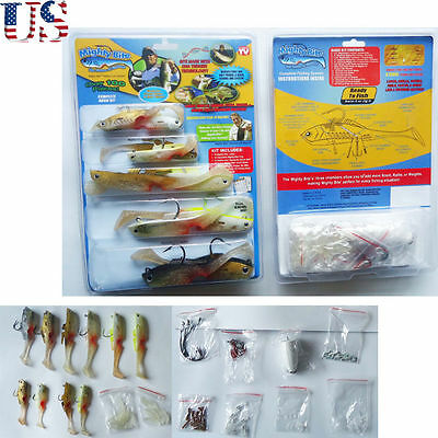 US Mighty Bite Fishing Lures Complete Basic Kit Tool Spinnerbaits TV Hook - SALE