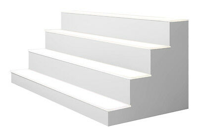 "40"" 4 Tier LED Lighted  Liquor Display Shelf - White Finish"