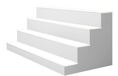 "16"" 4 Tier LED Lighted  Liquor Display Shelf - White Finish"