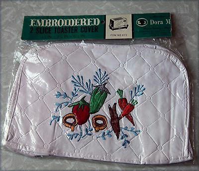 NOS New Vintage Dora May Embroidered 2 Slice Toaster Cover Retro kitsch rustic