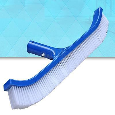 "18"" Swimming Pool Spa Algae Plastic Brush Head Heavy Duty Broom Curved Tools"