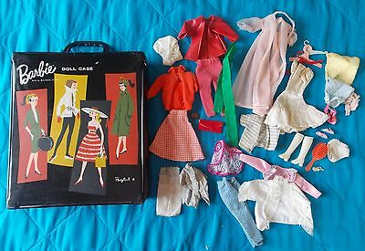1961 Mattel Ponytail Barbie Doll Case, Black, W/ Assorted Clothes & Accessories
