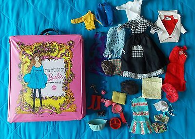 1968 Mattel Pink The World Of Barbie Case W/ Assorted Clothes And Accessories