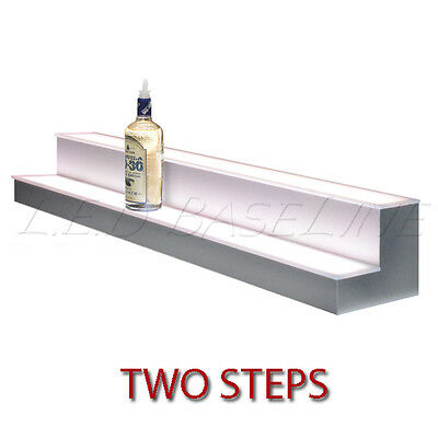 "70"" 2 Tier LED Lighted  Liquor Display Shelf - Stainless Steel  Finish"
